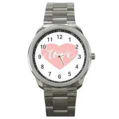 Love Valentines Heart Pink Sport Metal Watch by Alisyart
