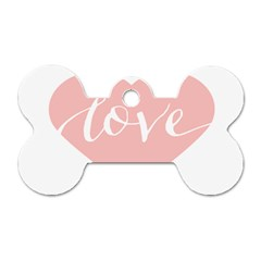 Love Valentines Heart Pink Dog Tag Bone (two Sides) by Alisyart