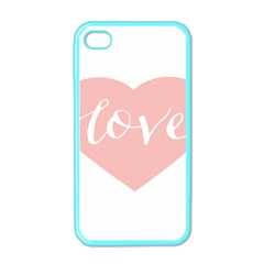 Love Valentines Heart Pink Apple Iphone 4 Case (color) by Alisyart