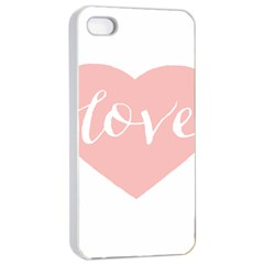 Love Valentines Heart Pink Apple Iphone 4/4s Seamless Case (white) by Alisyart