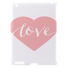 Love Valentines Heart Pink Apple Ipad 3/4 Hardshell Case (compatible With Smart Cover)