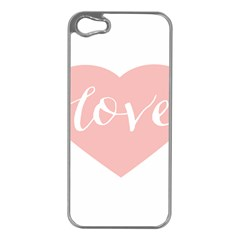 Love Valentines Heart Pink Apple Iphone 5 Case (silver)
