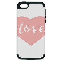 Love Valentines Heart Pink Apple Iphone 5 Hardshell Case (pc+silicone) by Alisyart