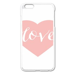 Love Valentines Heart Pink Apple Iphone 6 Plus/6s Plus Enamel White Case by Alisyart