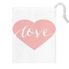 Love Valentines Heart Pink Drawstring Pouches (xxl) by Alisyart