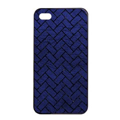 Brick2 Black Marble & Blue Leather (r) Apple Iphone 4/4s Seamless Case (black) by trendistuff