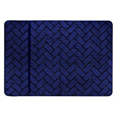 Brick2 Black Marble & Blue Leather (r) Samsung Galaxy Tab 8 9  P7300 Flip Case by trendistuff