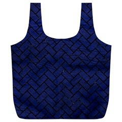 Brick2 Black Marble & Blue Leather (r) Full Print Recycle Bag (xl) by trendistuff