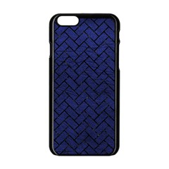 Brick2 Black Marble & Blue Leather (r) Apple Iphone 6/6s Black Enamel Case by trendistuff
