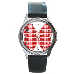 Hearts Butterfly Red Valentine Love Round Metal Watch by Alisyart