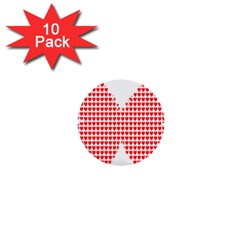 Hearts Butterfly Red Valentine Love 1  Mini Buttons (10 Pack)  by Alisyart