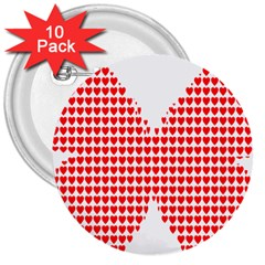 Hearts Butterfly Red Valentine Love 3  Buttons (10 Pack)