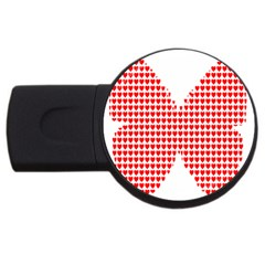 Hearts Butterfly Red Valentine Love Usb Flash Drive Round (2 Gb)