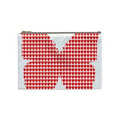 Hearts Butterfly Red Valentine Love Cosmetic Bag (medium)  by Alisyart