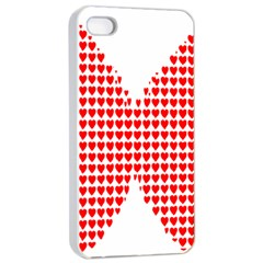 Hearts Butterfly Red Valentine Love Apple Iphone 4/4s Seamless Case (white) by Alisyart