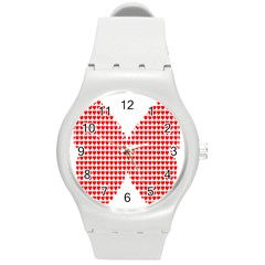 Hearts Butterfly Red Valentine Love Round Plastic Sport Watch (m) by Alisyart
