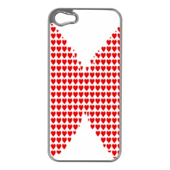 Hearts Butterfly Red Valentine Love Apple Iphone 5 Case (silver) by Alisyart