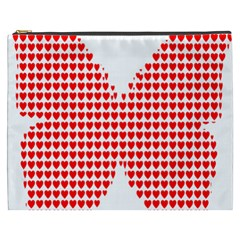Hearts Butterfly Red Valentine Love Cosmetic Bag (xxxl)