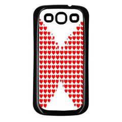 Hearts Butterfly Red Valentine Love Samsung Galaxy S3 Back Case (black) by Alisyart