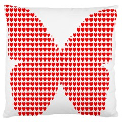 Hearts Butterfly Red Valentine Love Large Flano Cushion Case (two Sides)