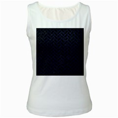 Brick2 Black Marble & Blue Leather Women s White Tank Top by trendistuff