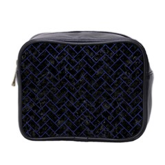 Brick2 Black Marble & Blue Leather Mini Toiletries Bag (two Sides) by trendistuff