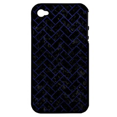 Brick2 Black Marble & Blue Leather Apple Iphone 4/4s Hardshell Case (pc+silicone) by trendistuff