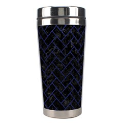 Brick2 Black Marble & Blue Leather Stainless Steel Travel Tumbler by trendistuff
