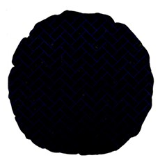 Brick2 Black Marble & Blue Leather Large 18  Premium Flano Round Cushion  by trendistuff