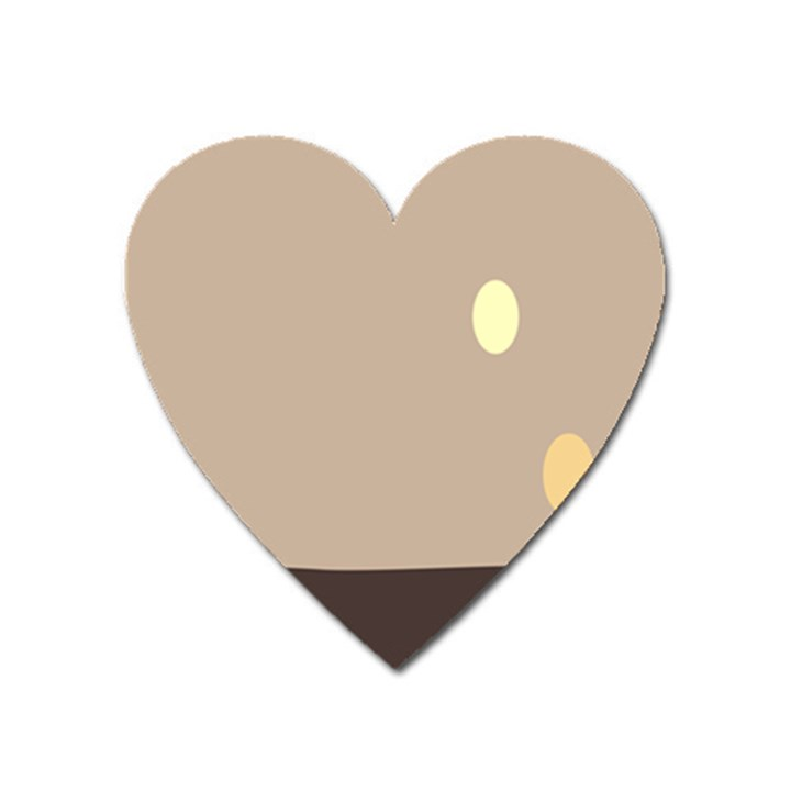 Minimalist Circle Sun Gray Brown Heart Magnet