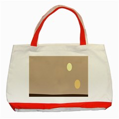 Minimalist Circle Sun Gray Brown Classic Tote Bag (red) by Alisyart