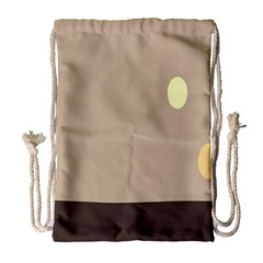 Minimalist Circle Sun Gray Brown Drawstring Bag (large) by Alisyart