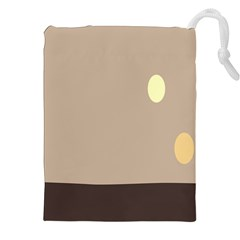 Minimalist Circle Sun Gray Brown Drawstring Pouches (xxl) by Alisyart