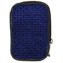 Brick1 Black Marble & Blue Leather (r) Compact Camera Leather Case by trendistuff