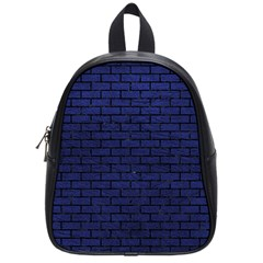 Brick1 Black Marble & Blue Leather (r) School Bag (small) by trendistuff