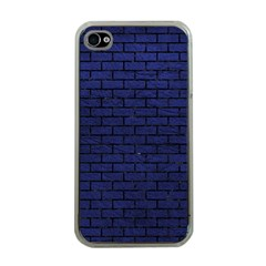 Brick1 Black Marble & Blue Leather (r) Apple Iphone 4 Case (clear) by trendistuff
