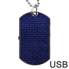 Brick1 Black Marble & Blue Leather (r) Dog Tag Usb Flash (two Sides) by trendistuff