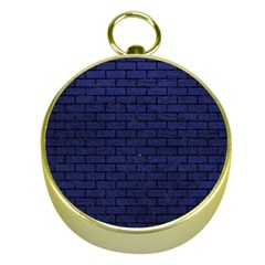 Brick1 Black Marble & Blue Leather (r) Gold Compass by trendistuff