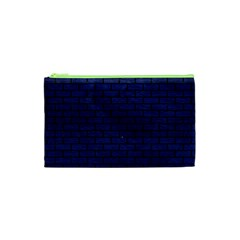 Brick1 Black Marble & Blue Leather (r) Cosmetic Bag (xs)