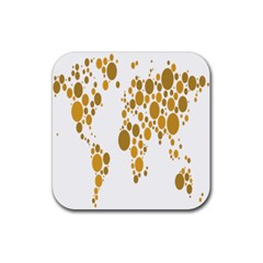 Map Dotted Gold Circle Rubber Coaster (square)  by Alisyart