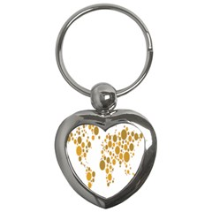 Map Dotted Gold Circle Key Chains (heart)  by Alisyart