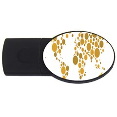 Map Dotted Gold Circle Usb Flash Drive Oval (2 Gb) by Alisyart