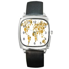 Map Dotted Gold Circle Square Metal Watch by Alisyart