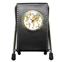Map Dotted Gold Circle Pen Holder Desk Clocks