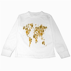 Map Dotted Gold Circle Kids Long Sleeve T Shirts