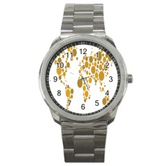 Map Dotted Gold Circle Sport Metal Watch