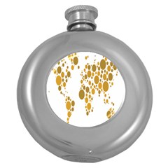 Map Dotted Gold Circle Round Hip Flask (5 Oz) by Alisyart