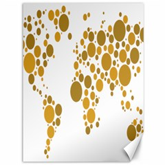 Map Dotted Gold Circle Canvas 36  X 48   by Alisyart