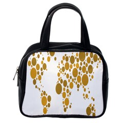 Map Dotted Gold Circle Classic Handbags (one Side) by Alisyart