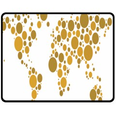 Map Dotted Gold Circle Fleece Blanket (medium)  by Alisyart